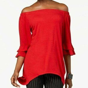NY Collection Blouse XL Off Shoulder Red Ruffle